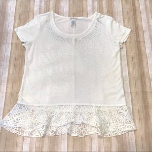 🔴 Hannah Blingy Front Lace Bottom SS Sweater Sz M
